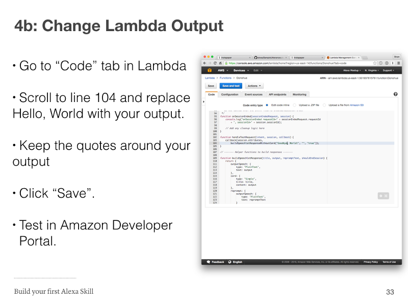 Step 4b: Change Lambda Output