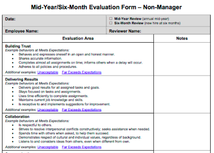 Emory.edu  Free Printable Employee Evaluation Form