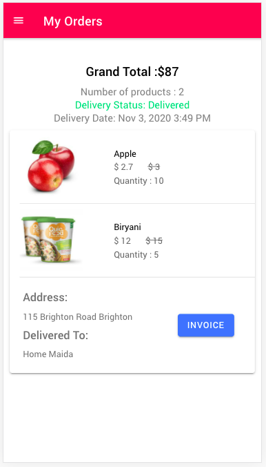 UI for My Orders page- PDF generation in Ionic apps