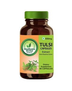 Shudhanta Herbal 100% Tulsi Capsules 650mg For Strengthen The Stomach And Help Kidney Stone — 90 Herbal Vegetarian Capsules