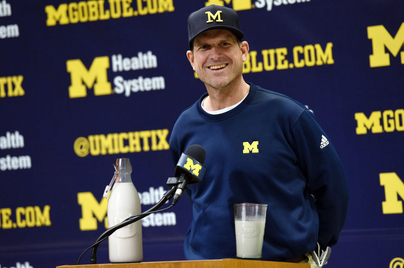 Image result for jim harbaugh drinking milk