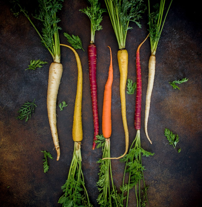 Carrots of different colors, pictured from about. White, yellow, red and orange. Make sure all your contestants have a prize opportunity.