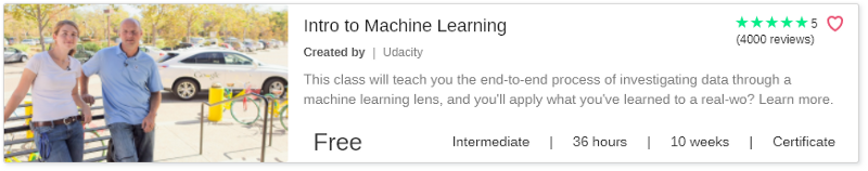 Intro to Machine Learning by Udacity