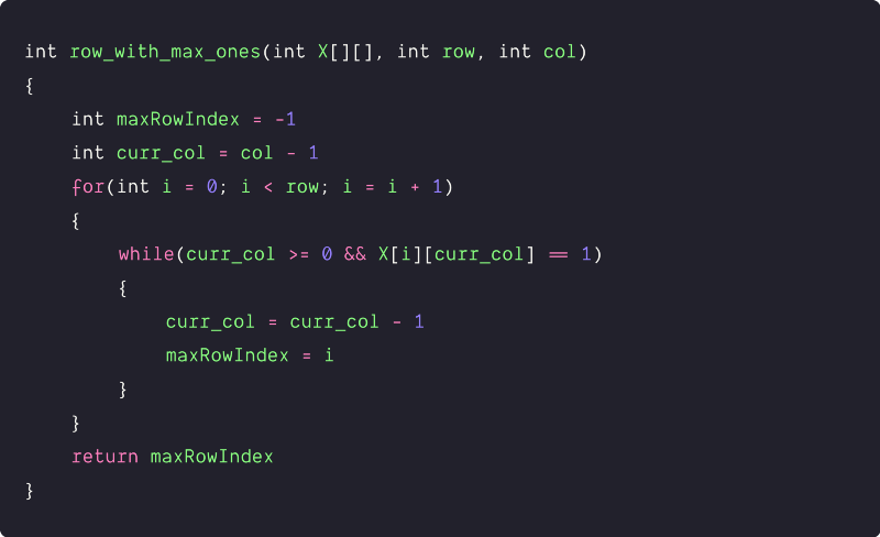row with the maximum number of 1s using in-place nested loop pseudocode