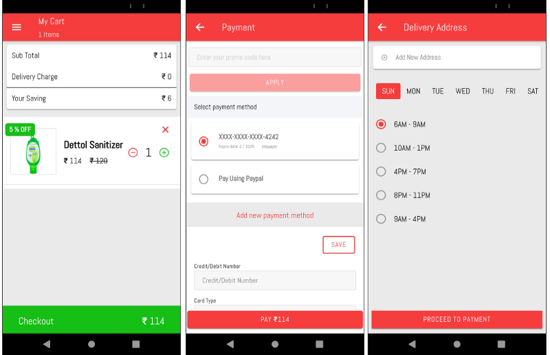 Cart, payment and delivery pages of Grocery buyer app—Ionic Grocery Delivery Platform