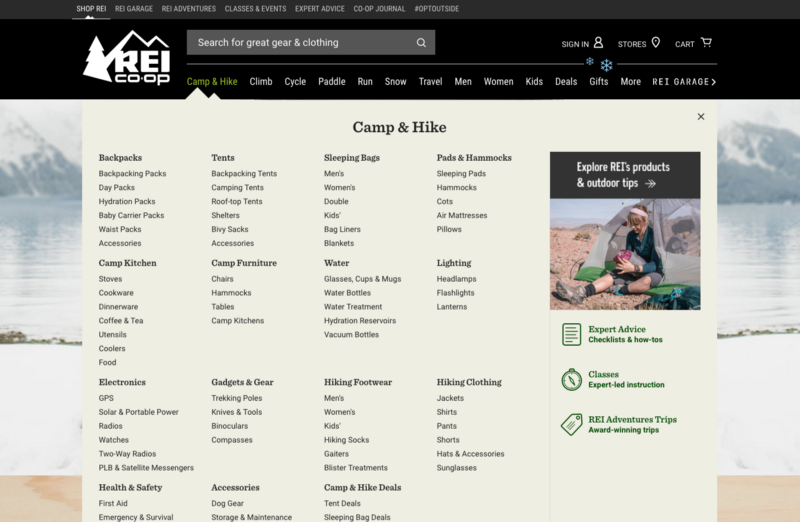 REI online store with multiple mega menus