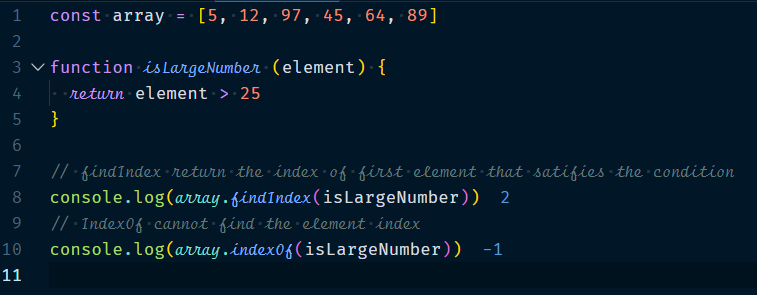 Array.findIndex Method