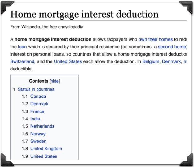 Home Mortgage Interest Deduction in Different Counties