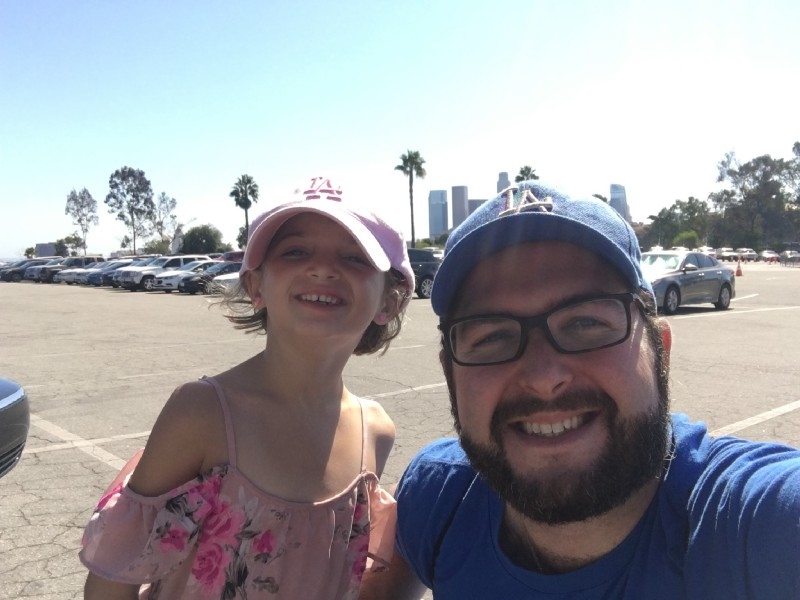 father daughter at dodger game