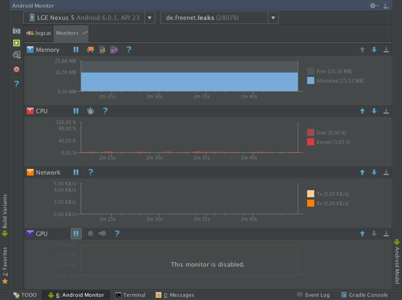 The Android Monitor in Android Studio 2.0