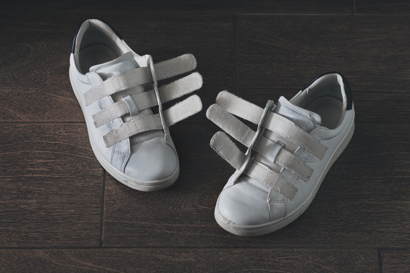 Shoes with Velcro fasteners.
