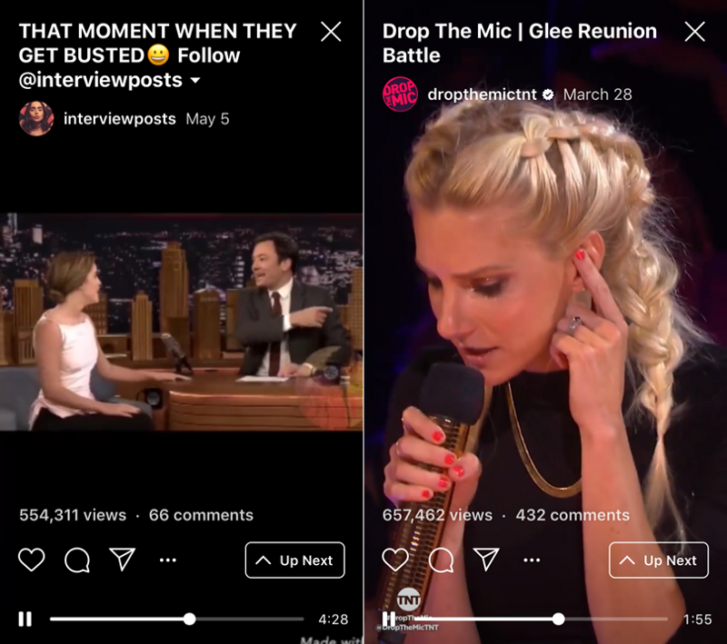 Horizontal vs. vertical video comparison on IGTV