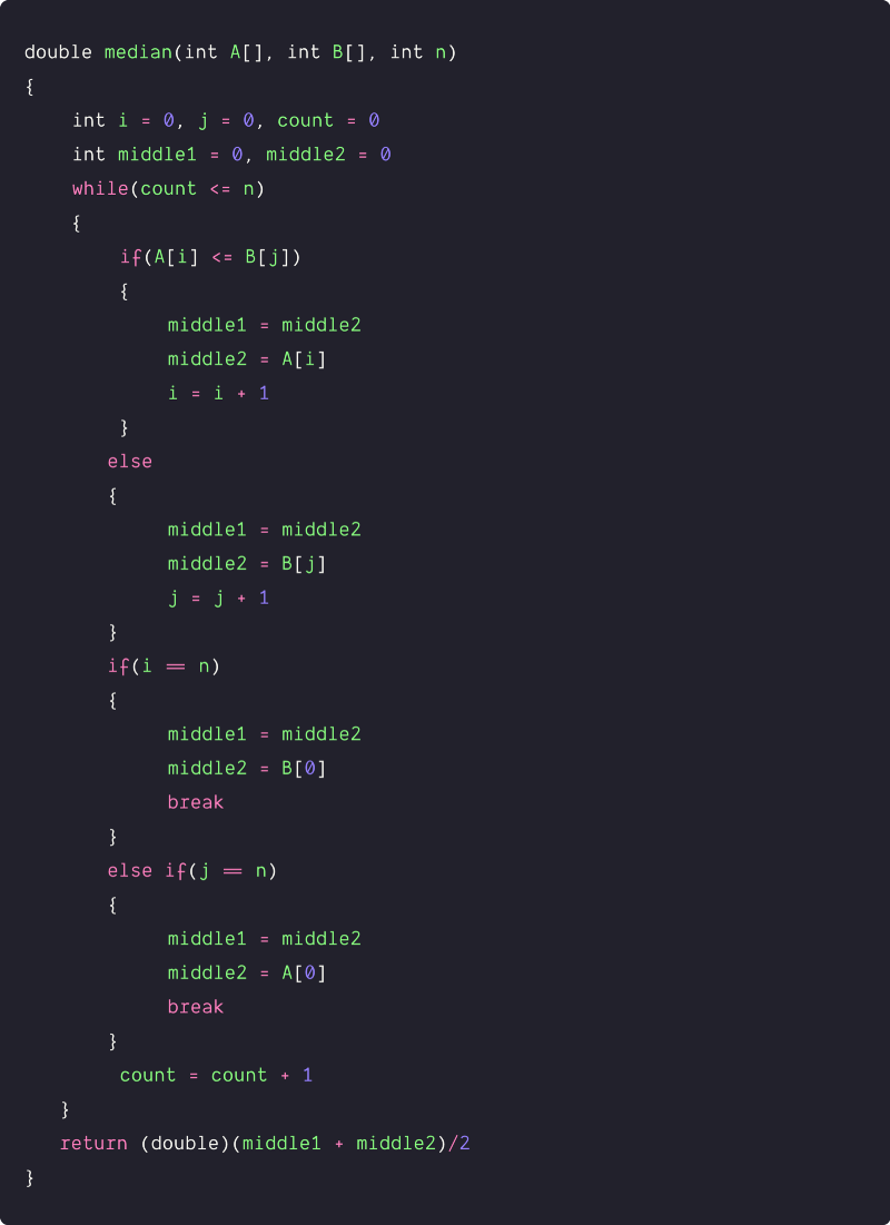 median of two sorted arrays of equal size using two pointers pseudocode