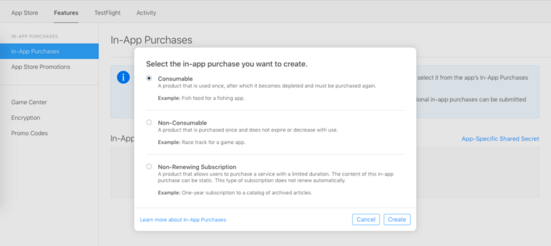 Add new in-app purchase product in App store connect