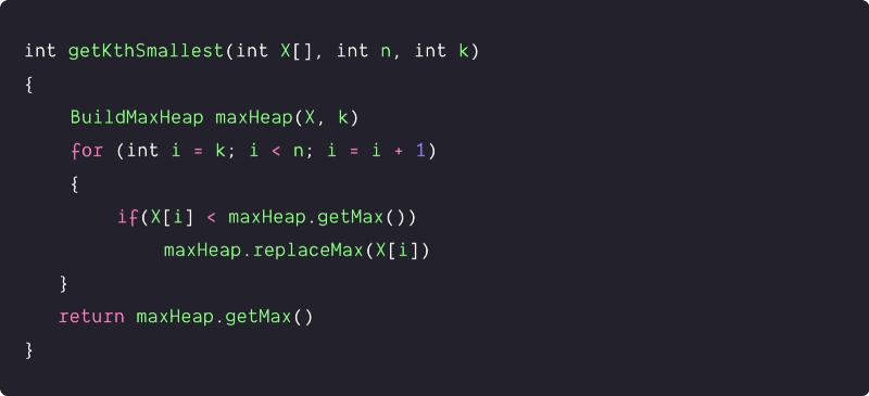 kth smallest element using max-heap data structure