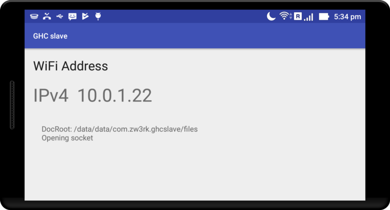 Figure 1: GHCSlave running on androiddevice