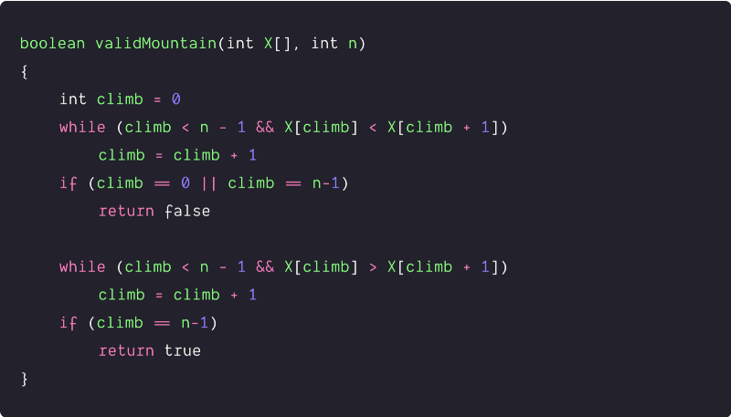 valid mountainarray pseudocode solution by traversing from left to right end