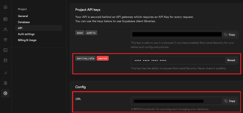 Access your secret API key and URL from the API setting page in Supabase