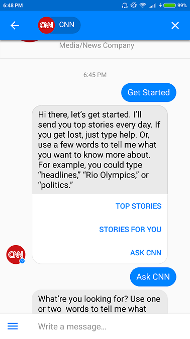 CNN Messenger News Chatbot