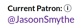 And JasoonSmythe is the current patron the wildcard info page.