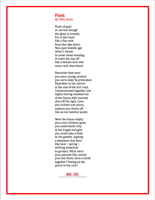 Share This Poem Flask By Ellen Stone Broad Street Text formatting for poems is not easy in the wordpress editor, unless you use the preformatted text tag. share this poem flask by ellen