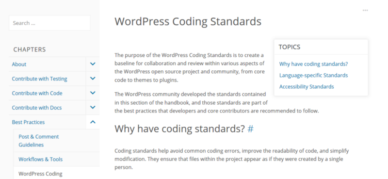 Nguồn: Handbook WordPress Coding Standards