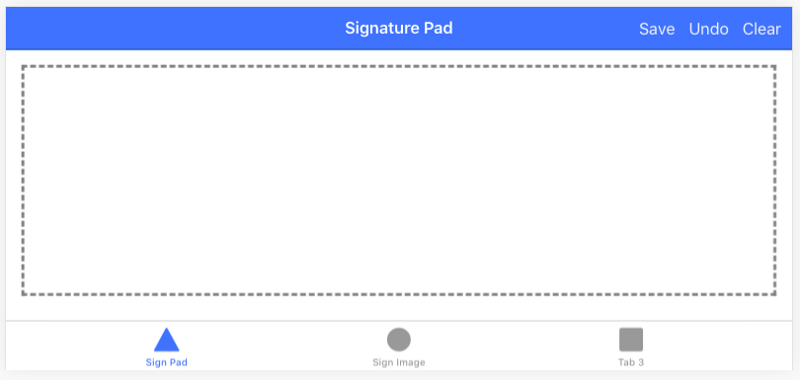 Basic UI to test Signature pad functionality in Ionic 5