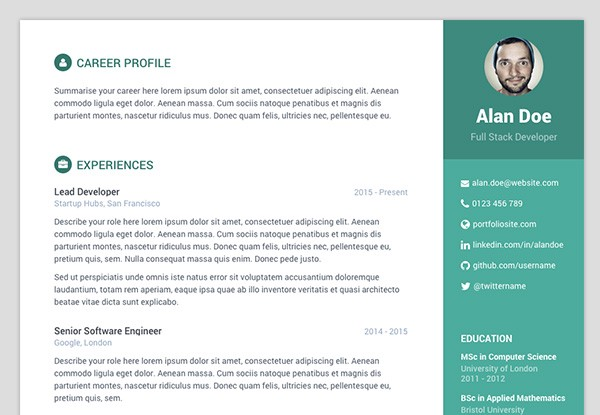 orbit  u2014 free bootstrap 4 resume  cv template made for