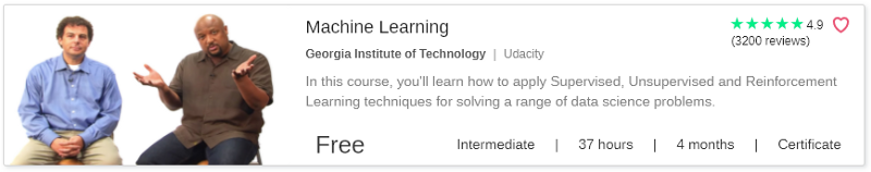 Machine Learning by Udacity