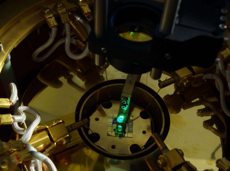 By incorporating advanced imaging techniques with data-intensive strategies developed by UC Riverside students working with NASA's Jet Propulsion Laboratory, a new type of microscope has been developed that allowed the first observation of an electronic liquid at room temperature ( QMO Lab, UC Riverside)