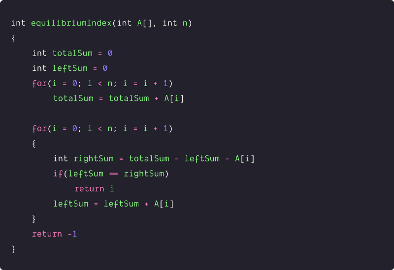 equilibrium index of an array using single loop pseudocode