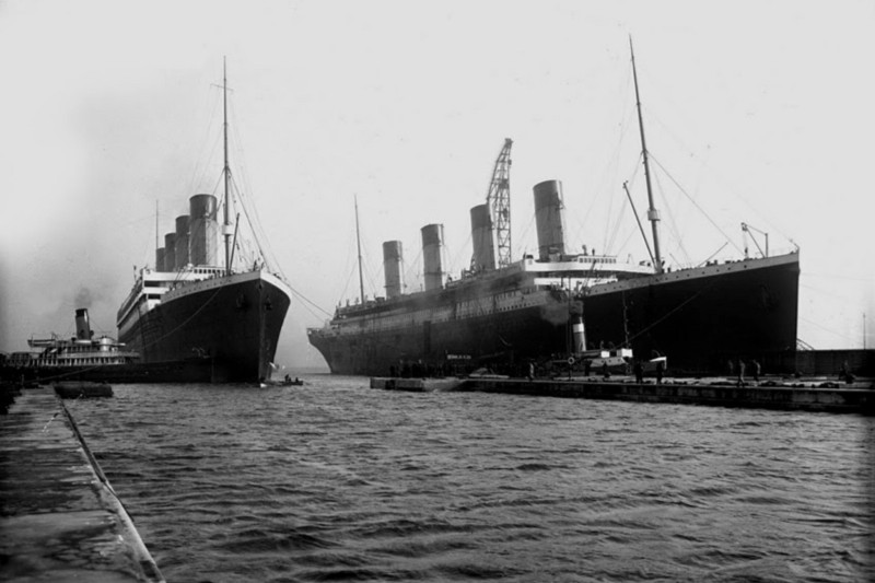 The Titanic and the Olympic moored side by side in Belfast
