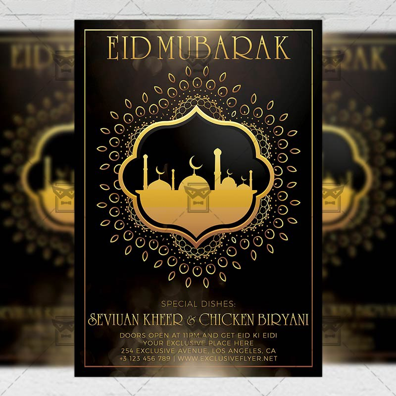 Eid Mubarak Seasonal A5 Flyer Template Exclusive Flyer Medium