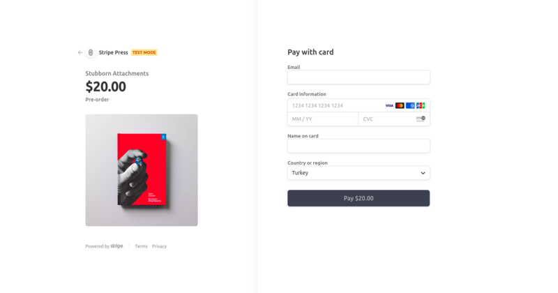 Preview checkout from <https://stripe.com/docs/payments/checkout>