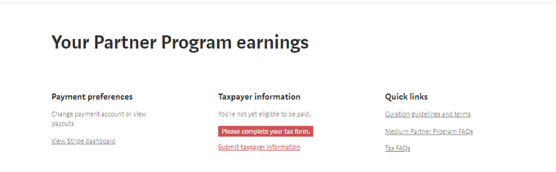 Submitting Taxpayer information in order to be eligible to get paid from Medium Partner program