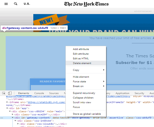 Delete the paywall code of that newspaper site and continue reading that specific article without buying subscription