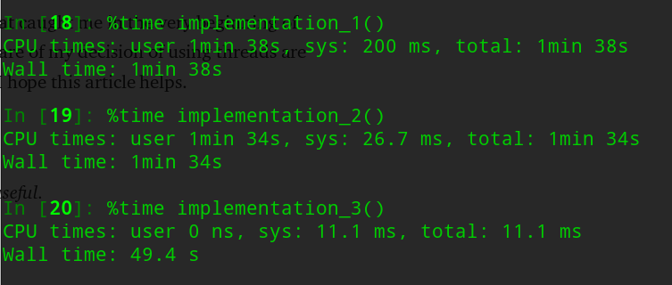 Timing results of multiprocessing vs multithreading