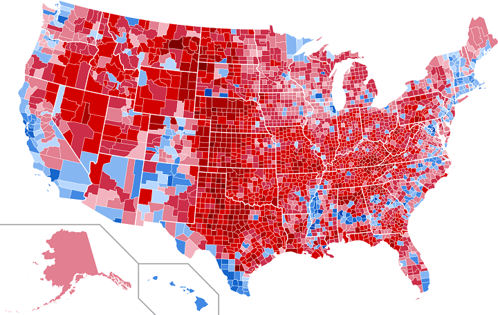 2016 Election results on county level