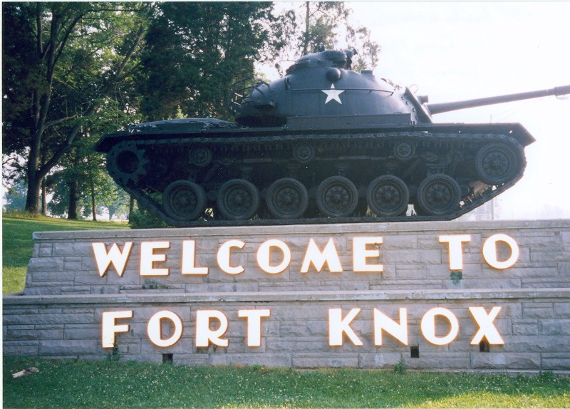 Tank on top of Fort Knox welcome sign