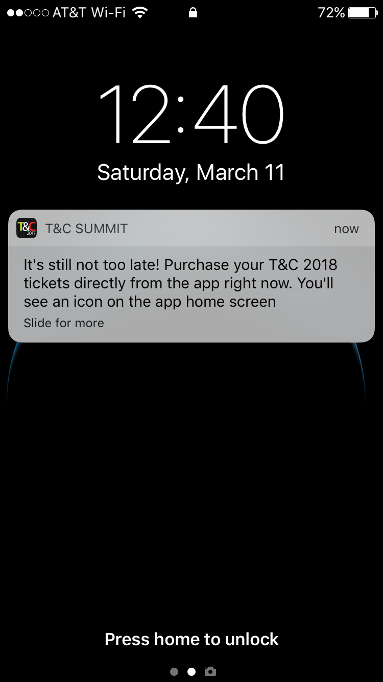 iphone notification from Traffic and Conversion Summit app