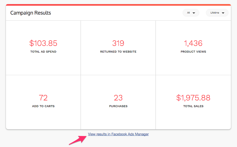 shoelace dashboard with link to facebook ads manager