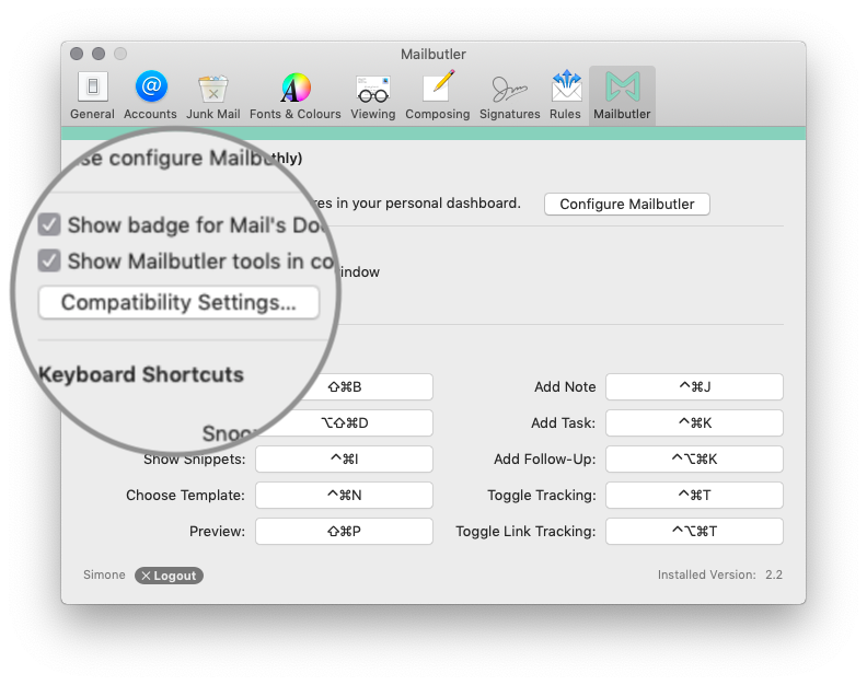 Mailbutler compatibility settings in Apple Mail