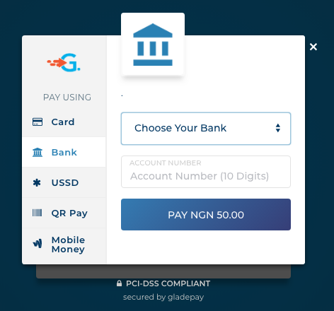 Gladepay's Checkout page [Bank Section].