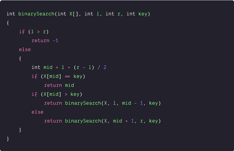 binary search divide and conquer pseudocode