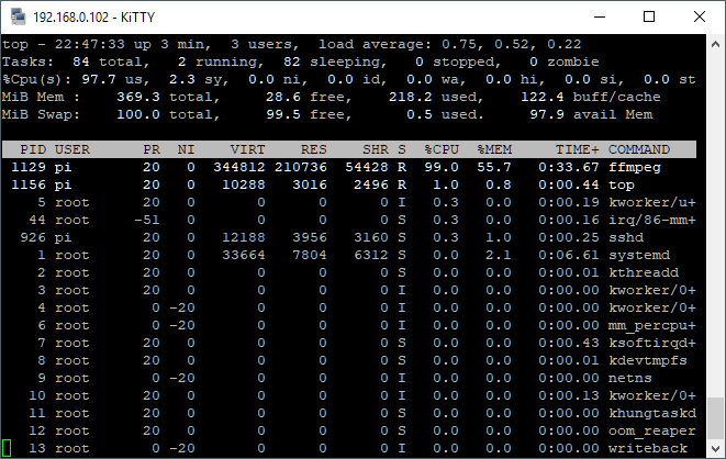Screenshot of our first FFMPEG test.