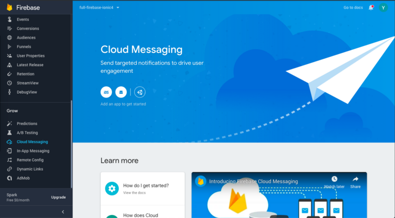Cloud messaging section of Firebase console — You can send push notifications from here