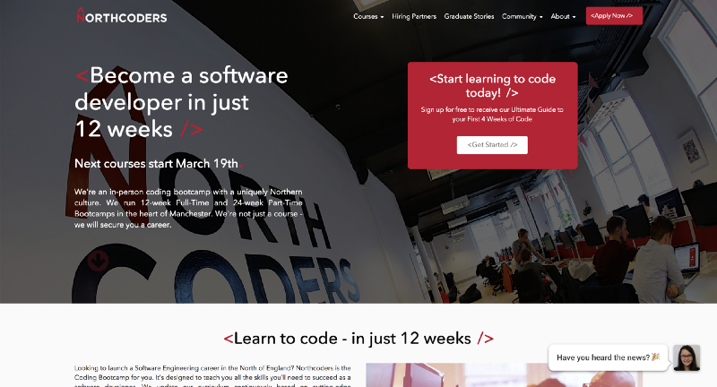 Homepage for Northcoders website