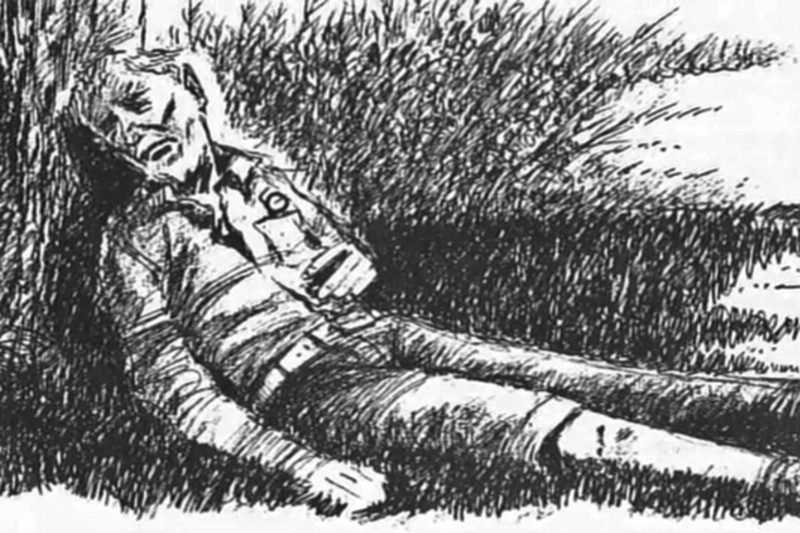 The first witnesses described the body as leaning against a tree
