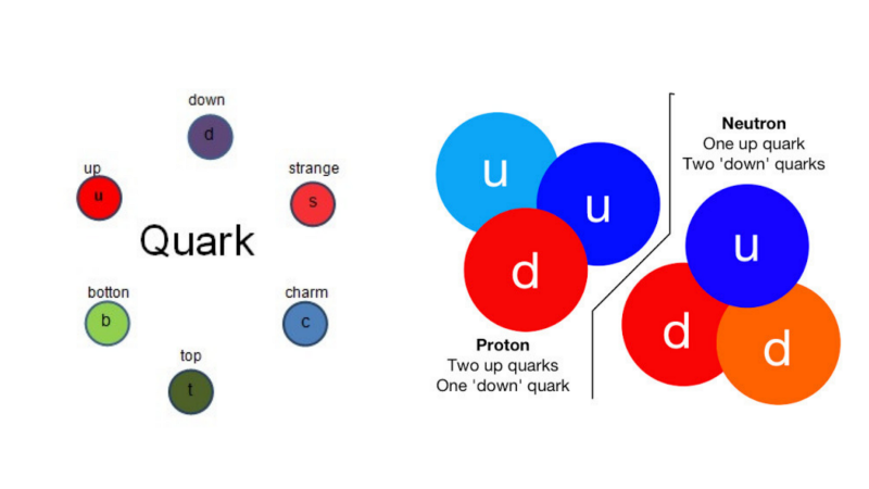 The six known types of quarks on the left and how they come together to form protons and neutrons on the right