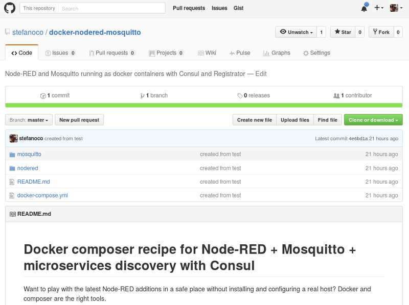 Prototyping messaging ui with node red and docker for Consul ui docker